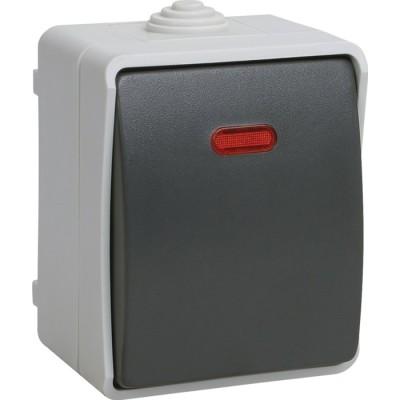 Выключатель одноклавишный IEK Форс ВС20-1-1-ФСр с подсветкой открытой установки IP54 серый