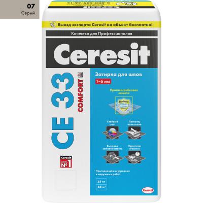 Фото - Затирка Ceresit СЕ 33 Comfort 2-6 мм 25 кг серый 07 затирка ceresit се 33 comfort 2 6 мм 2 кг графит 16
