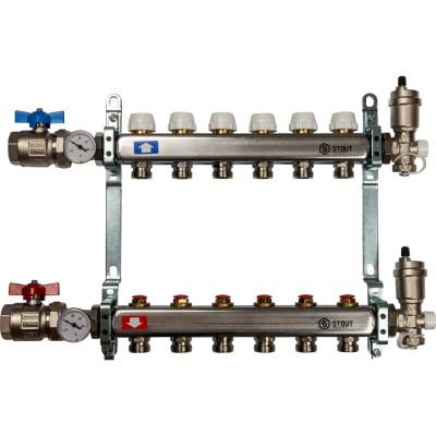 термометры для воды Коллектор в сборе STOUT без расходомеров 1 3/4M 6 отводов