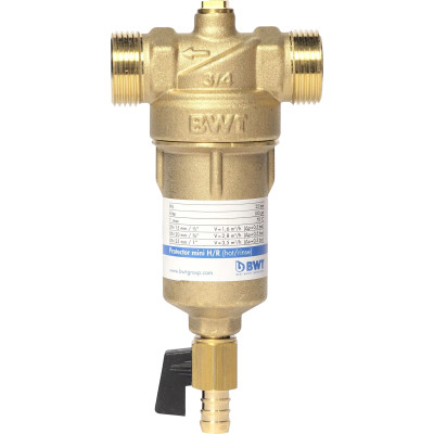 фильтры для воды bwt кувшин пингвин bwt кокосовый ласси Водоочиститель BWT Protector Mini 3/4 для горячей воды 100 мкм