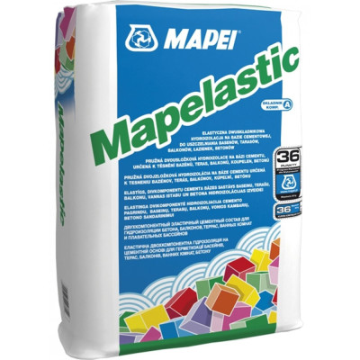 Эластичная двухкомпонентная гидроизоляция Mapei Mapelastic 24 кг сухая часть компонент A