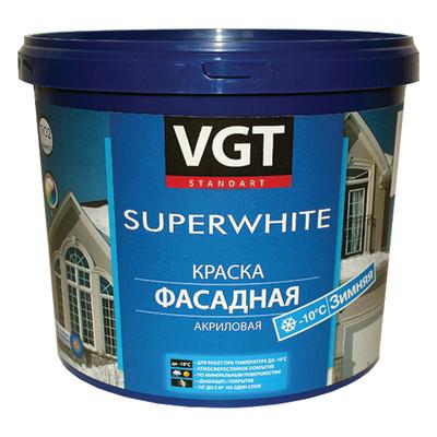 Краска фасадная VGT ВД-АК-1180 зимняя белоснежная 15 кг