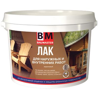 Лак акриловый BAUMASTER для наружных и внутренних работ бесцветный матовый 2.2 кг шнек для мотобура baumaster ea 2030x 200
