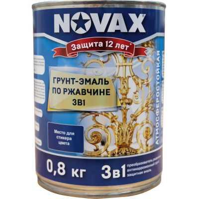 Фото - Грунт-эмаль 3 в 1 антикоррозионная Novax RAL 9005 матовая черная 0.8 кг грунт эмаль 3 в 1 антикоррозионная novax ral 7042 глянцевая серая 0 8 кг