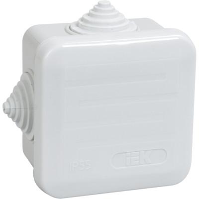 Коробка распаячная для открытой проводки IEK КМ41236 IP44 RAL7035 4 гермоввода защелкивающаяся крышка 70х70х40 мм