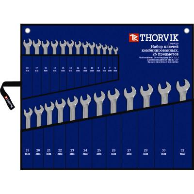 Фото - Набор ключей гаечных комбинированных Thorvik CWS0025 в сумке от 6 до 32 мм 25 предметов набор комбинированных и рожковых гаечных ключей 32 шт 6 32 мм зубр 27086 h32