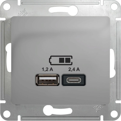 Розетка USB Schneider Electric Glossa двойная A+С порт 1 5В 2х1.2А порт 2 5В 2.4А алюминий GSL000339
