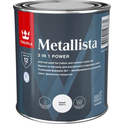 Краска по ржавчине Tikkurila Metallista серебряная глянцевая 0.9 л