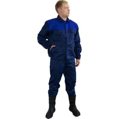 брюки мастер темно синий размер 56 58 рост 170 176 Костюм рабочий Мастер куртка и полукомбинезон темно-синий/василек размер 56-58 рост 170-176
