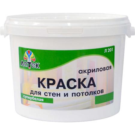 Краска для стен и потолков для внутренних работ Латек Л 201 14 кг