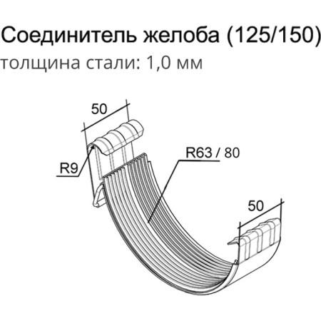 Соединитель желоба Grand Line 125 мм сигнальный белый 1 мм