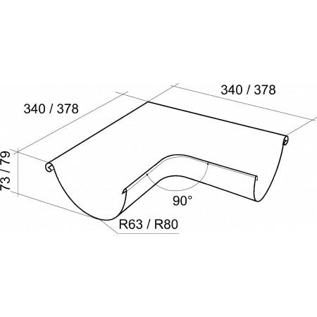 Угол желоба внешний Grand Line 90° 125 мм сигнальный белый 0.55 мм