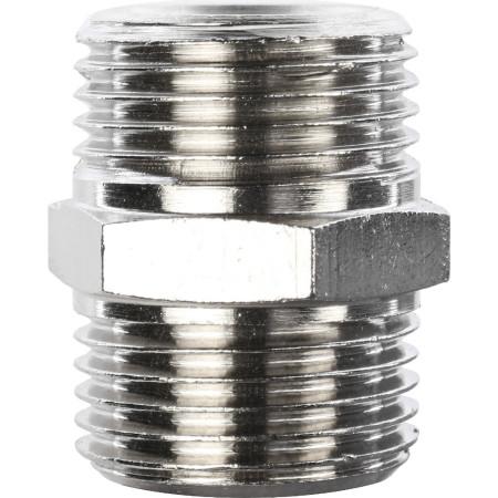 Ниппель переходной Stout SFT-0004-0 наружная резьба никелированный 3/8