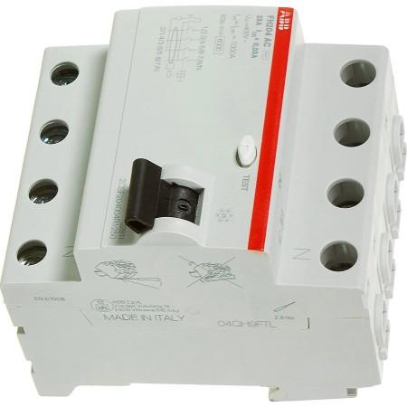 Выключатель дифференциальный УЗО ABB FH204 4Р тип AC 25 А 30 мА