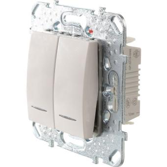 Переключатель двухклавишный с подсветкой в рамку Schneider Electric Unica белый купить в интернет-магазине МаксиПРО