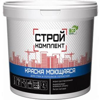 Краска для стен и потолков Стройкомплект водно-дисперсионная моющаяся супербелая 40 кг