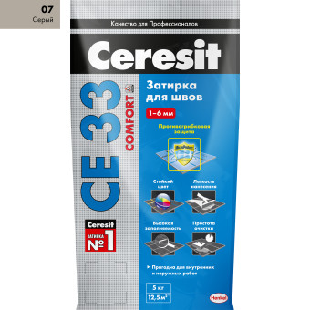 Затирка Ceresit СЕ 33 Comfort 2-6 мм 5 кг серый 07