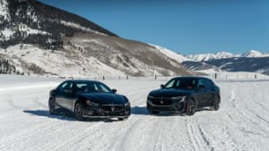 Maserati Ribelle Ghibli and Levante lined up on a snow course