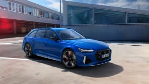 The 2021 Audi RS6 Avant wagon in blue with huge rims.