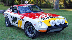 a 240Z - white with yellow and red stripes
