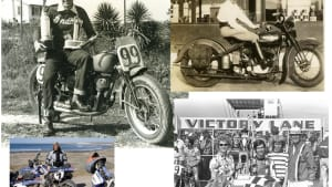 an image from the book, featuring a collage of pictures of folks and motorcycles from many years ago