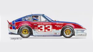 artist rendering of a 1975 Datsun 260Z with bright blue, red, and white colors and yellow wheels.