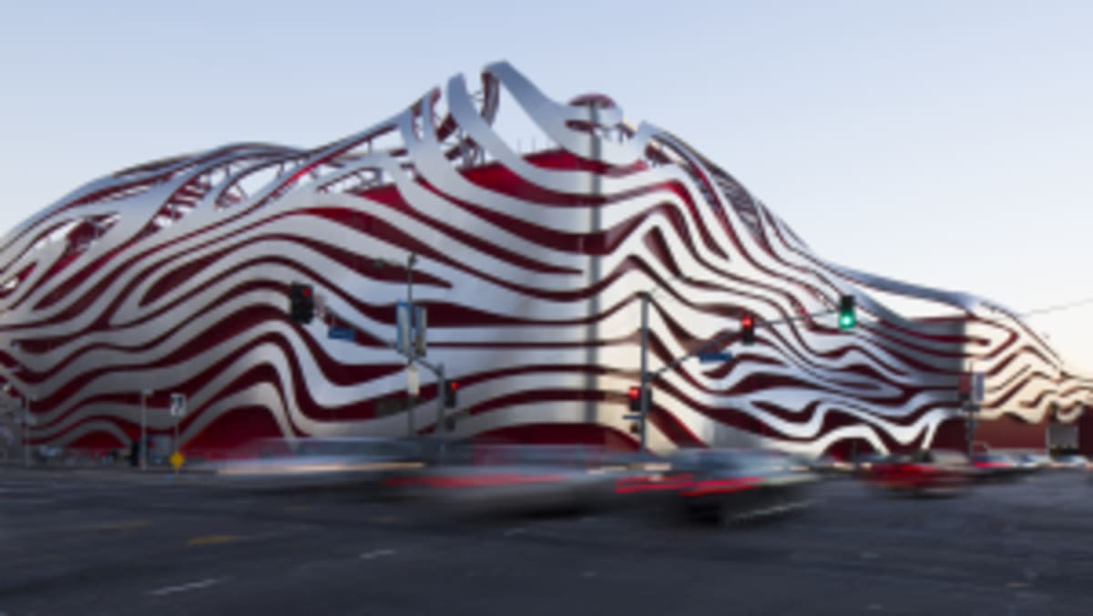 The impressive and expressive facade of the Petersen Automotive Museum in Los Angeles