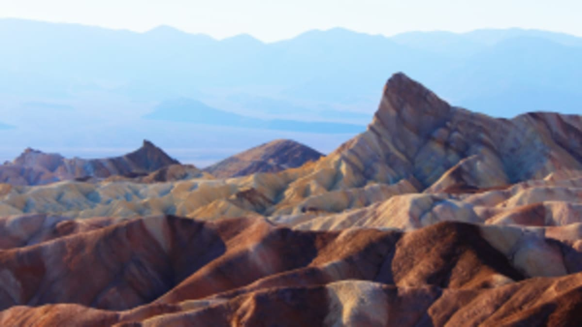 beautiful colors of the sandy hills of Artist's Palette in Death Valley National Park