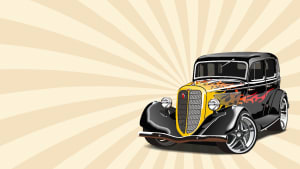 graphic artwork featuring a classic car with orange and yellow background.