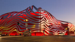 The front of The Petersen Automotive Museum in Los Angeles.