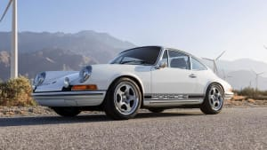 The white electric Porsche 912 up for grabs through the Petersen and Omaze sweepstakes.