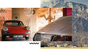 image of a page out of Porsche Home featuring a red Porsche 912 and an image of mountains.