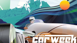 the poster/flyer for the original event is an artist rendering of a race car with mountains and the sun in the background.