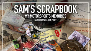 """the cover of the book """"Sam's Scrapbook - My Motorsports Memories"""""""