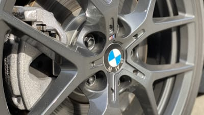 closeup of grey rims on BMW 2