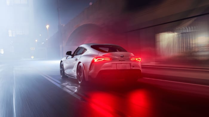 toyota supra 3.0 premium grey car misty night
