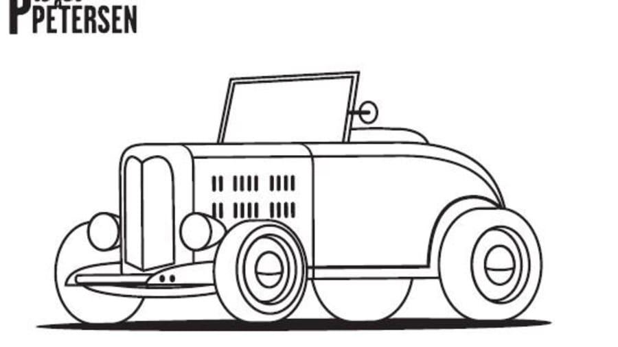 Petersen Automotive Museum's car logo outline.