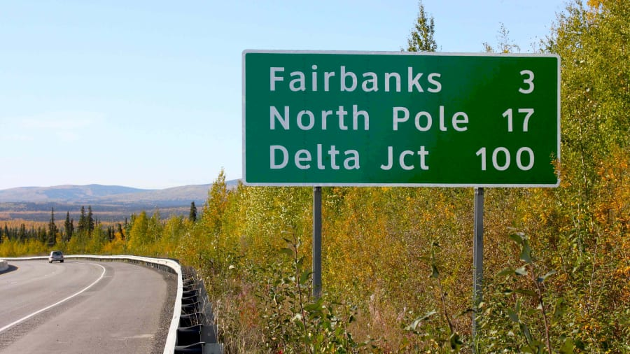 freeway sign with North Pole on it