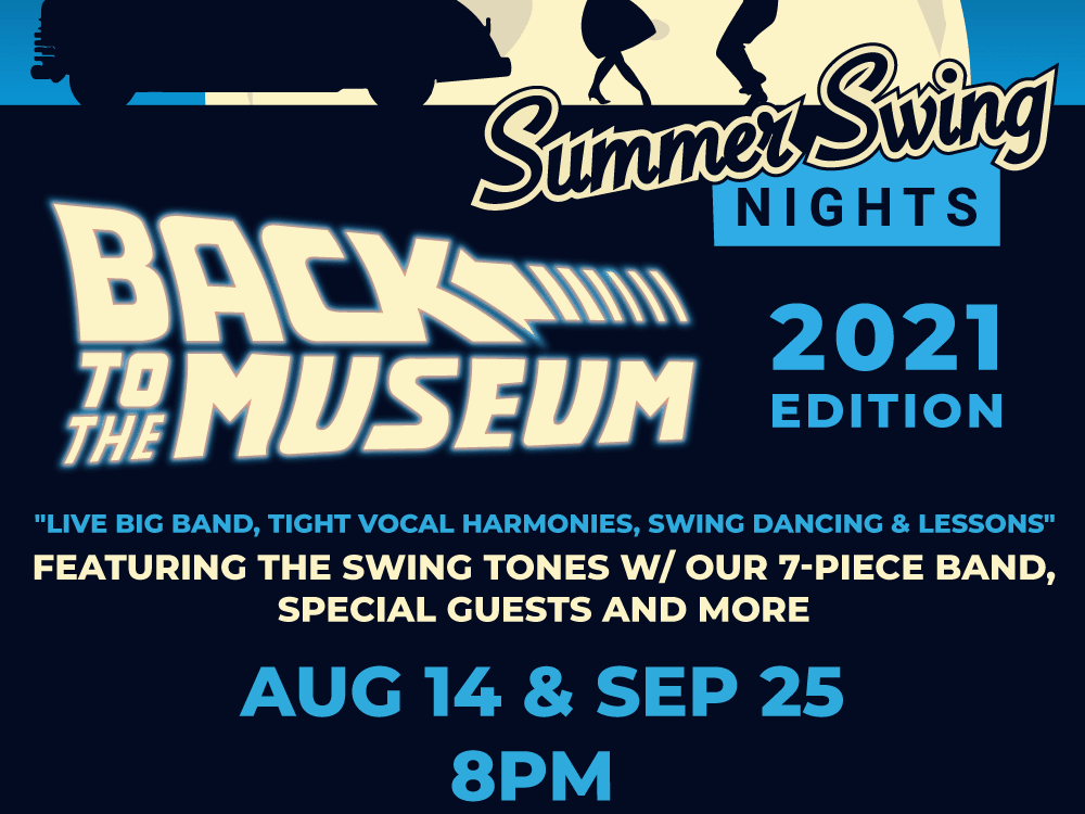 flyer for the Summer Swing Night events at Automobile Driving Museum