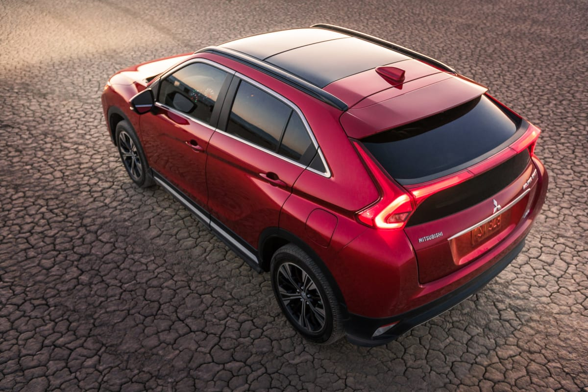 The sharp wedge lines of the 2019 Mitsubishi Eclipse Cross are clearly seen from this angle.