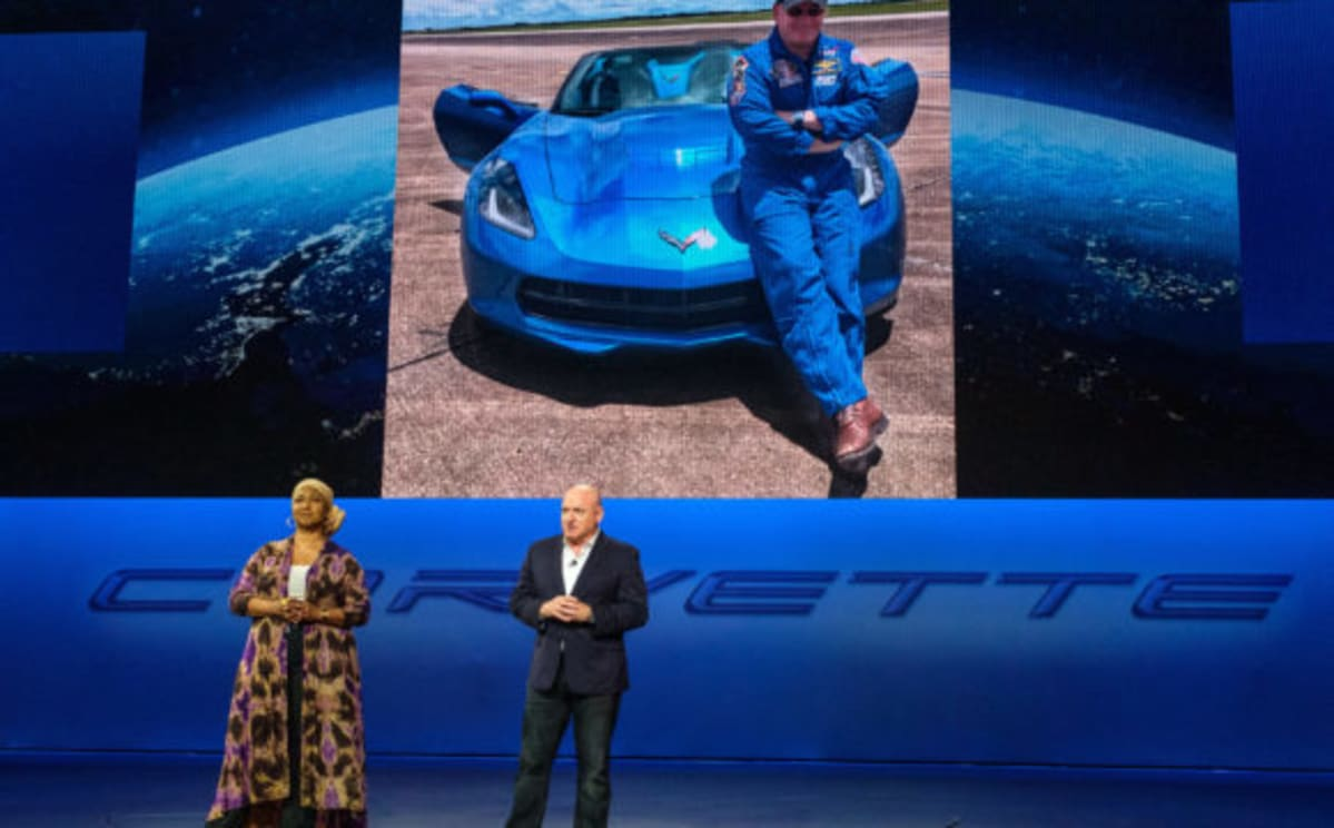 Former astronauts Dr. Mae Jemison and Capt. Scott Kelly address the gathering before the introduction of the 2020 Chevrolet Corvette Stingray Thursday, July 18, 2019 in Tustin, California. (Photo by Steve Fecht for Chevrolet)