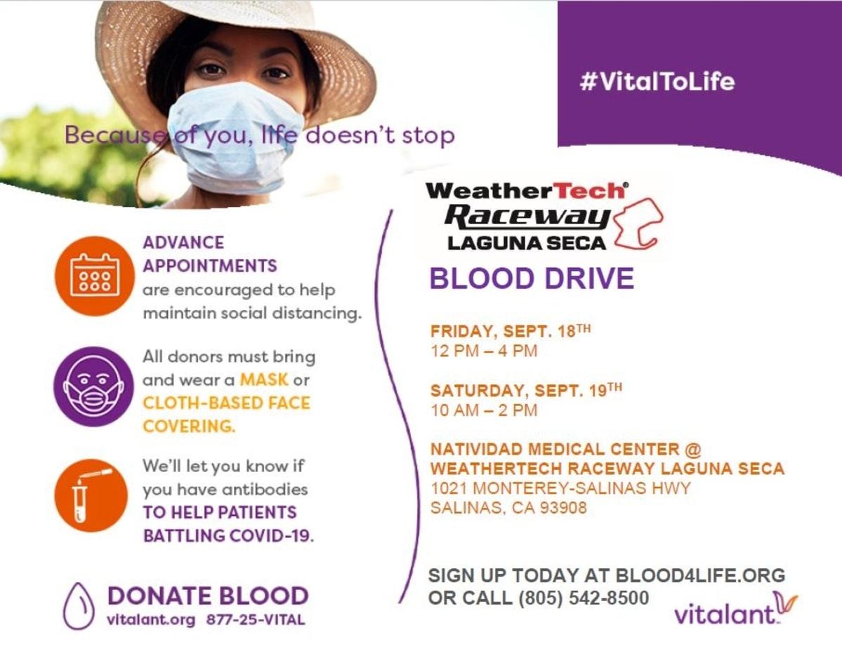 Details on the WeatherTech Raceway blood drives.