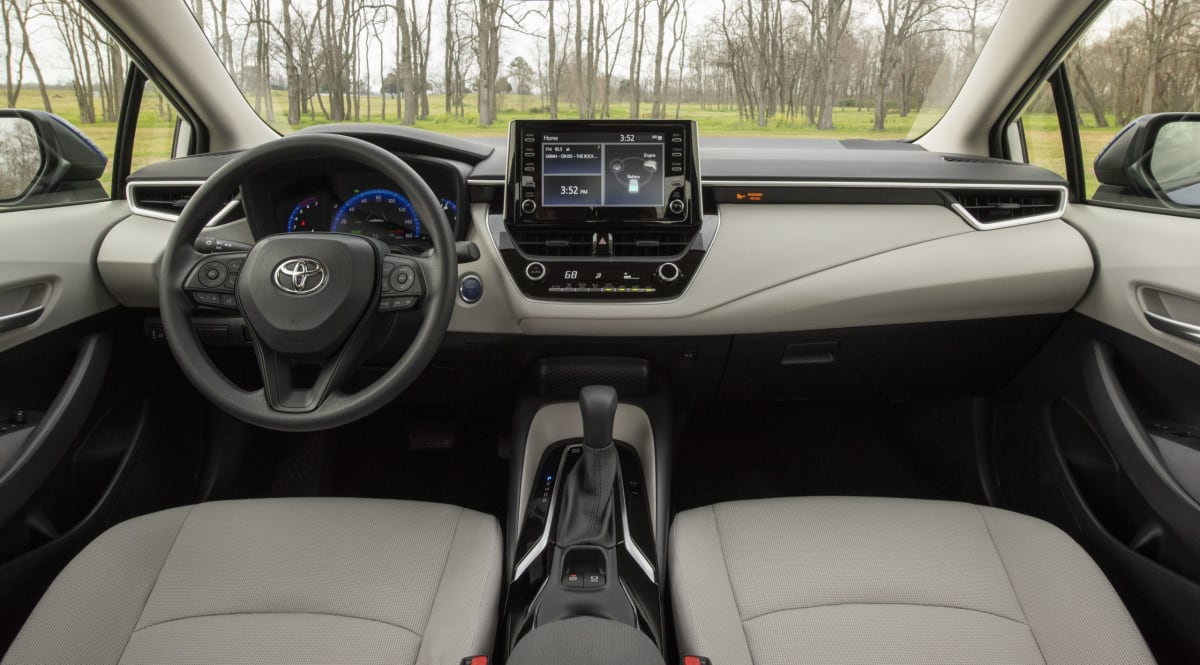 Toyota Corolla Hybrid interior sports soft-touch materials within typical touching distance.