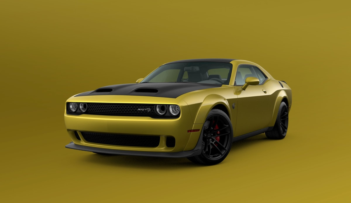 2021 Dodge Challenger SRT Hellcat Widebody shown in Gold Rush exterior paint color.