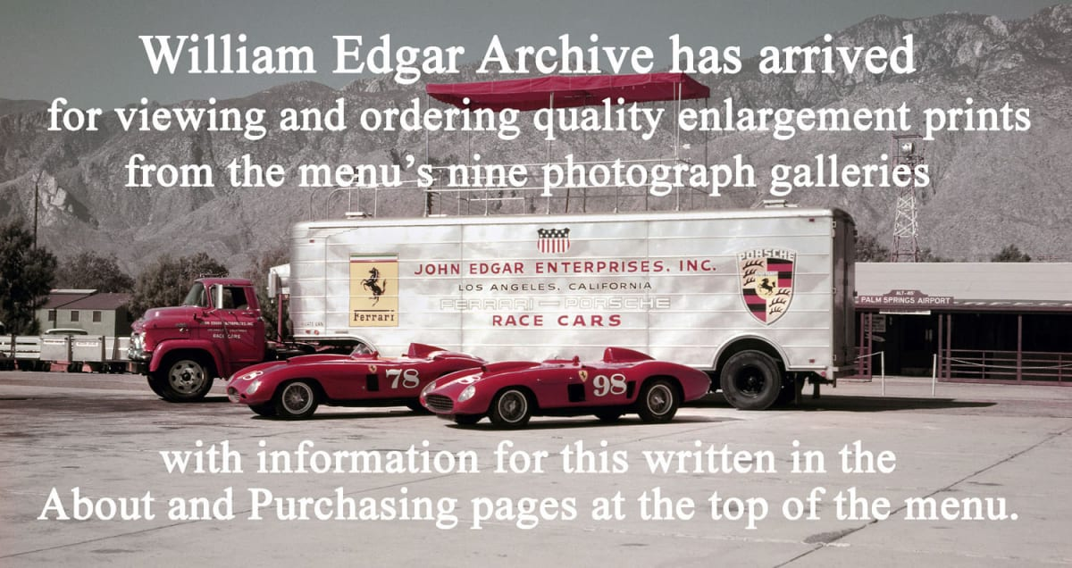California's Palm Springs Airport, November 1956. Publicity photograph for the November 4, 1956 SCCA National Road Races at Palm Springs. This is the John Edgar Enterprises souped-up 110-mph Pontiac V8-powered cab tractor and Fruehauf trailer, with John Edgar's Ferraris parked in display: #78 Ferrari 375 Plus s/n 0396 AM rebodied by Scaglietti, and #98 Ferrari 410 Sport s/n 0598 CM. Photograph by Lester Nehamkin for the John Edgar Collection.