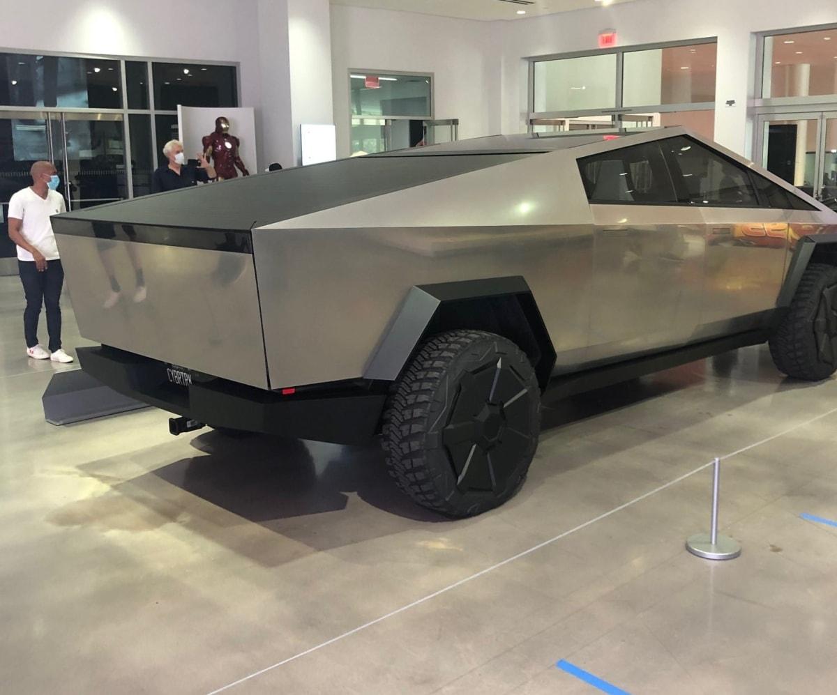 Tesla Cybertruck makes public debut at the Petersen Automotive Museum. (Rowlands)