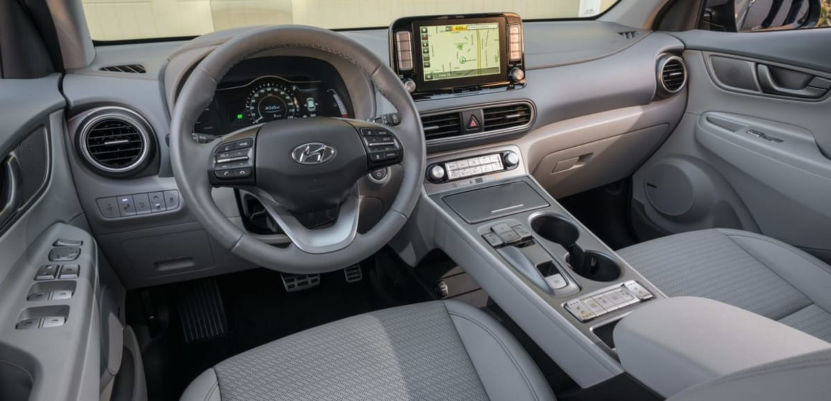 The perforated leather seats in the Kona EV Ultimate provide air conditioning as well as heating.