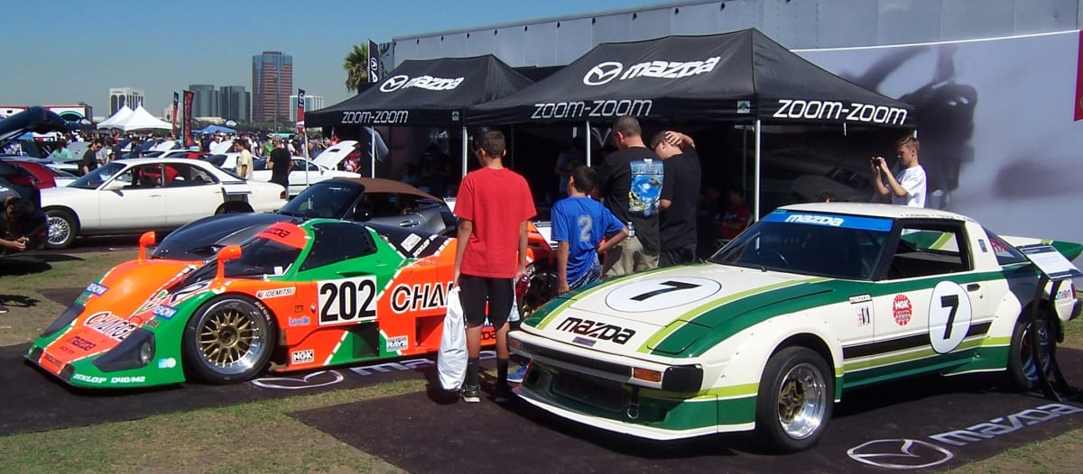 The Japanese offensive took place not only in the showroom but also at the racetrack. Mazda debuted their RX-7 in 1979 and that year two Mazda Technical Center-entered cars took first (#7 in the photo) and second in the GTU class and finished 5th and 6th overall at the Daytona 24 Hours. In 1979, a 4-rotor 787B (#202) became the first Japanese manufacturer to win the legendary 24 Hours of LeMans.