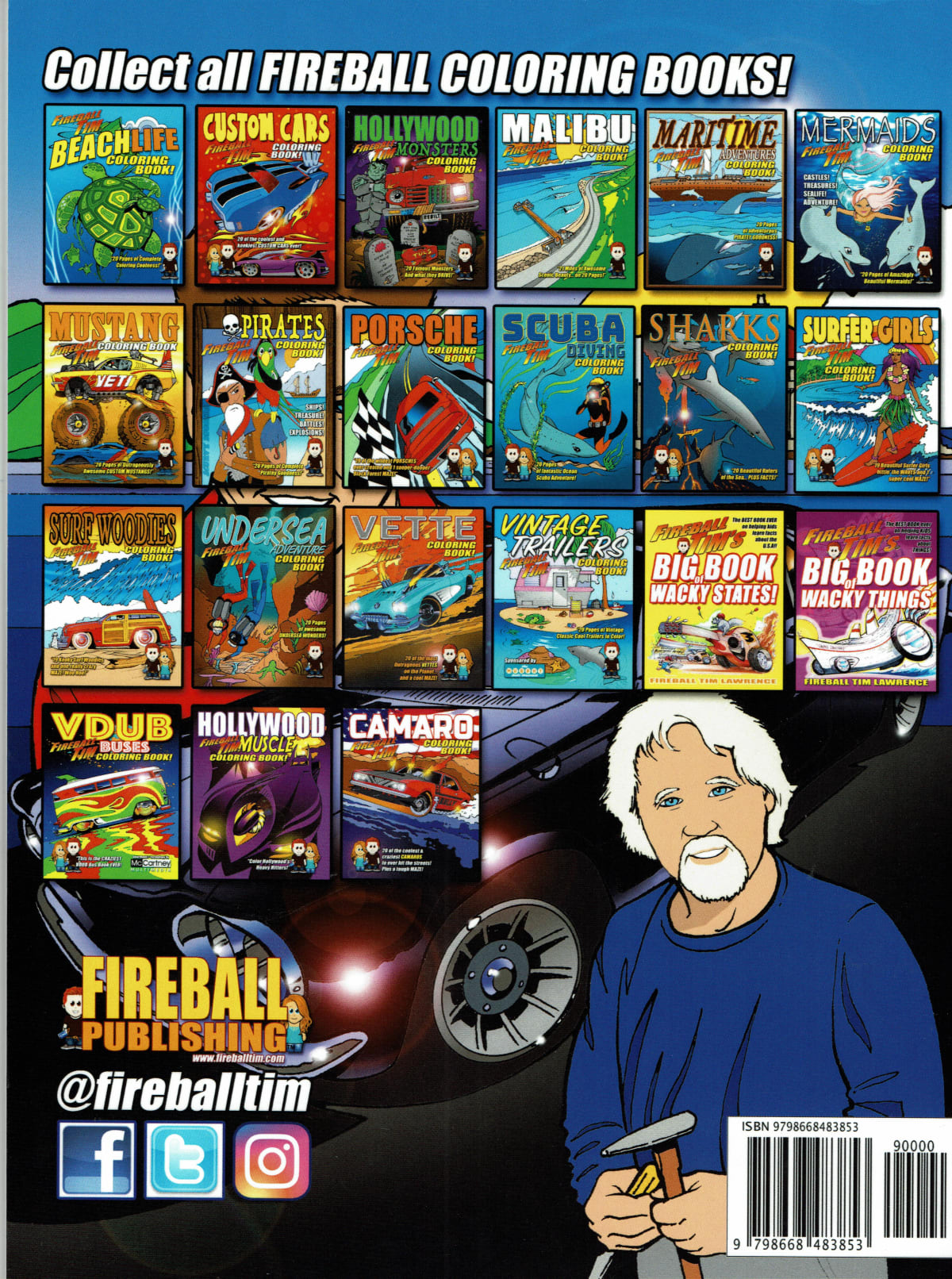 Fireball Tim has plenty of coloring books to complete!