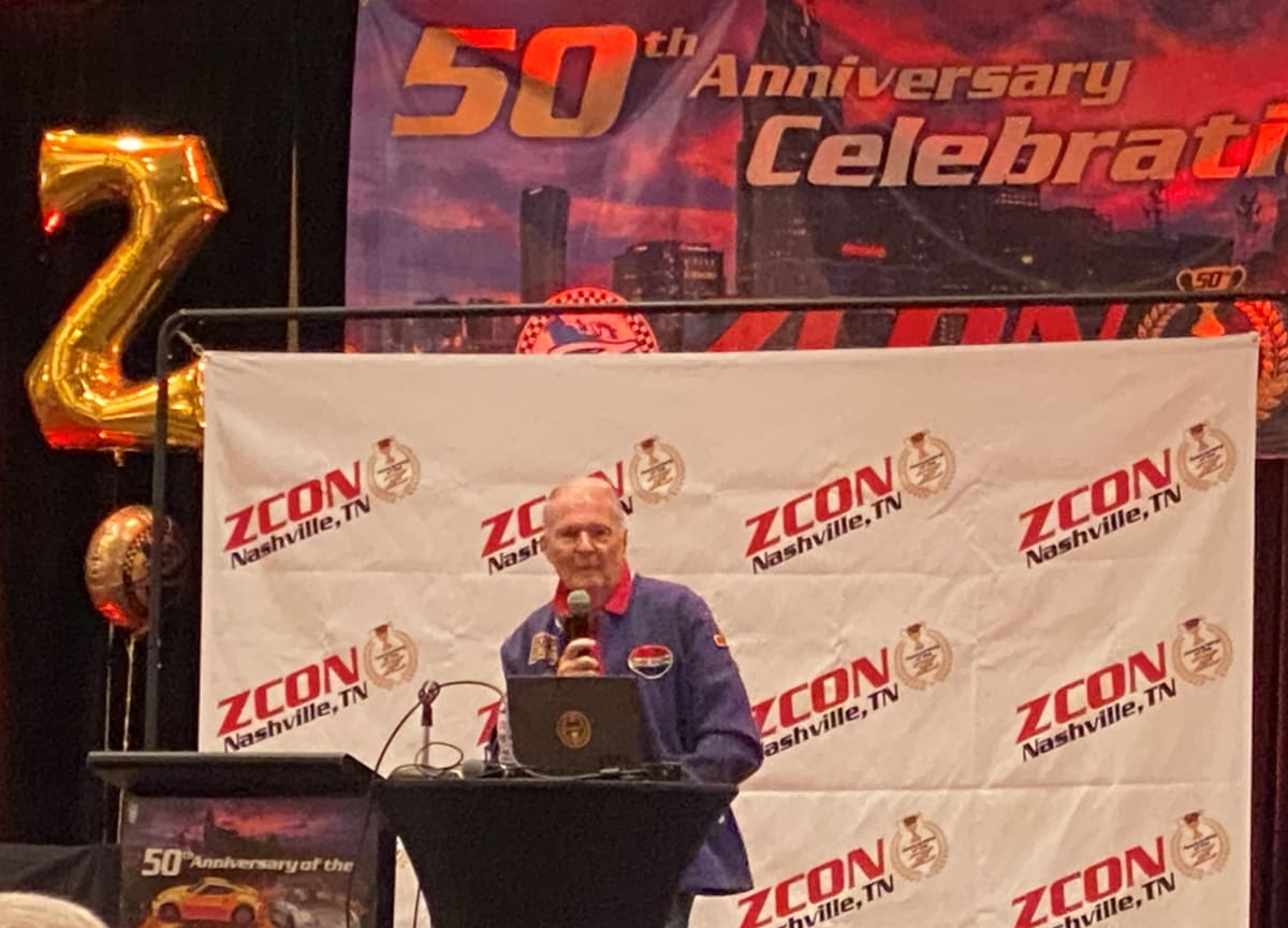 """Mr. Peter Brock (wearing trademark Datsun jacket) gave a tech talk.""""I spoke for 1 ½ hours"""" told in an email to LACar.com. Always engaging, we're sure he could've continued until the next ZCon…"""